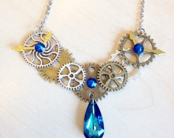 Steampunk COGS, gears and blue Swarovski Crystal Necklace