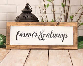 Forever & Always Sign Mothers Day Gift for Couples Gift for Women Gift for Men Farmhouse Decor for Wedding Gift Bedroom Decor Joanna Gaines
