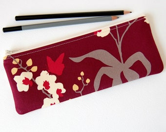 Pencil Pouch, Long Zipper Pouch, Woman's Wallet, Purse Organizer, Joel Dewberry Ginseng, Mulberry Orchid