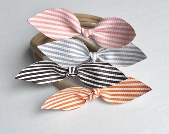 Nylon headband or clip for baby and girl with striped bow