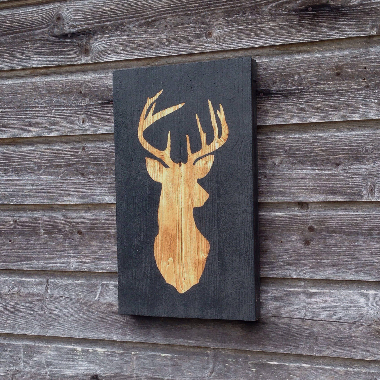 tableau en bois t te de cerf peinture sur bois 48cmx28cm. Black Bedroom Furniture Sets. Home Design Ideas