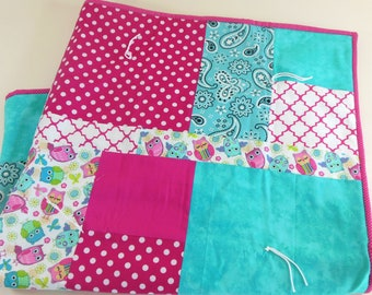 OOAK Crib Quilt, Baby Quilt, Toddler Nap Quilt, Child Lap Quilt in Owls and Paisley
