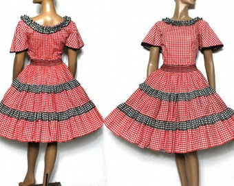 Vintage 1960's Square Dance Outfit// Swing Outfit // Red// Black//Checked// Full Skirt// Ruffles// 60's Square Dance// Western Outfit