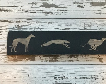 "Free Shipping - Greyhound Sign - Distressed rustic reclaimed lumber running Adoption 6"" X 24"" racing racer retired"