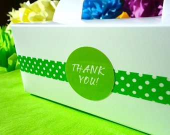 12 Gable Cake Box THANK YOU Oscar Green Paper Food Grade Favor or To Go w/ Handle Decorated - Wedding Stickers Numbers, Letters, Phrases