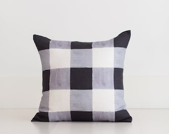 Black and White Buffalo Check Pillow Cover by Whitney English, 100% Linen Gingham Home Throw Pillow