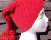 Smee Hat, Mr Smee costume,Best seller, Red cap, Mr Smee hat, Pirate hat, Red Mate hat, Red knit hat, Red pirate hat,Red Long tail Pirate hat