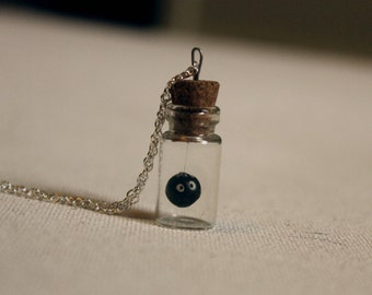 Susuwatari necklace, Soot sprite, floating in a little 2,5cm bottle, as seen in Totoro, Ghibli