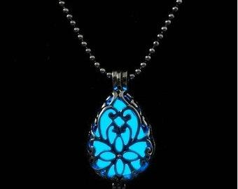 Glow In The Dark -  Blue Tear Drop Necklace
