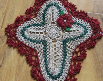 Christmas Holiday Cross Doily with Rose Flower Ecru Burgundy Crochet Religious Crocheted Handmade Home Decor Night and Day Crochet