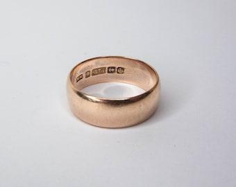Antique Edwardian 9ct Rose Gold Wide Wedding Band Ring