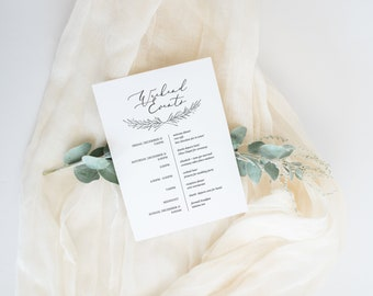 wedding itinerary template, wedding timeline, printable wedding itinerary, wedding welcome bags, 100% editable in Templett
