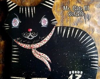 Mr Gatz 03 - one of kind original, outsider, cat, kitties, cat art, structure art, wood art, handmade, 13, unique, one of a kind, 8.5x9