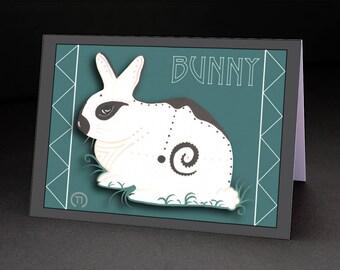 """Bunny 4.25"""" x 6"""" Blank Greeting Card"""