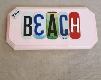 The Beach - License Plate Art