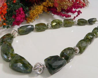 Green Vasonite Nuggets and Sterling Silver Findings.