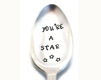 Stamped Spoon Vintage Silverware You're A Star Inspirational Gifts Under 15 Personalized Flatware Funny Spoons