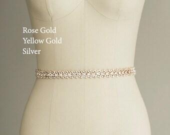 Gabriella - Bridal Gown Sash, Wedding Dress Belt Sash, Thin Rhinestone Crystal Sash