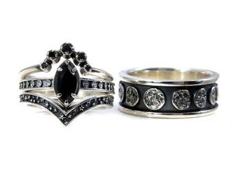 His and Hers Star Wars Ring Set Sterling Silver with Rubies