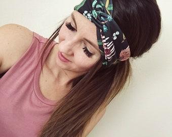 Women's Turban, Women's Head Wrap, Twist Turban Headband, Blush Floral Print, Hair Accessories, Wide Headband, Women's Head Wrap, Boho Wrap
