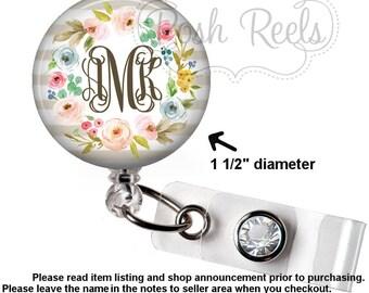 Monogram Badge Reel Holder - Pretty Floral Wreath Badge Reel ID Holder - RN Nurse Badge Reel, Stethoscope ID Tag, Carabiner, Lanyard - 1684