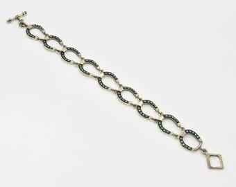 Sterling Silver Horseshoe Bracelet, Vintage Silver Bracelet, Vintage Turquoise Bracelet, Link Bracelet, Horseshoe, December Birthstone