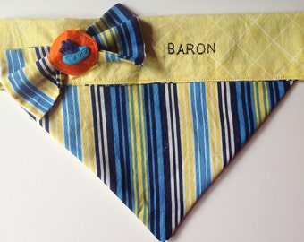 Striped Yellow and Blue Embroidered Bandana for Male Dogs and Cats/Over The Collar Bandana