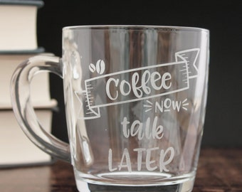 Funny Coffee Quote Mug Addict Glass Etched Glass Cup Gift