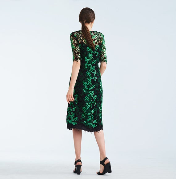 Gown Maxi Green for for Party Gown Summer A Elegant Women Dress Night Flowers Lace Flared Geometrical Silk silhouette Loose Lined Midi 7xT17P