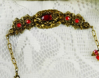 Bracelet, Red Bracelet, Red Czech Glass, Antiqued Brass, Chain, Bee, Swarovski.
