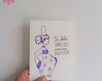 Carte, grossesse, Maman, bébé, carte de grossesse, fête des pères, violet, annonce, cadeau de naissance, naissance, être maman, enceinte,