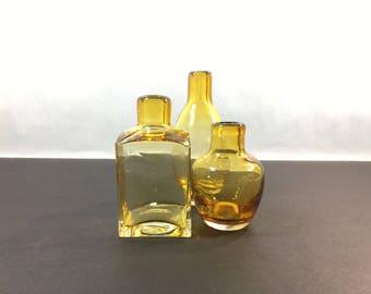 Handblown Glass Trio Flower Bud Vases Amber Colored With Pontil Mark Vintage Vase Art Decor Wedding Holiday