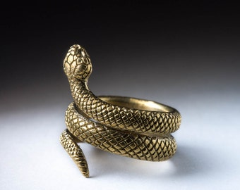Snake Ring, brass, adjustable size, handmade