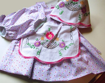 Baby Bonnet and Dress Set, Purple and Pink, Three Piece, Baby Girl Clothes, 12  months, vintage embroidered linen, DrBon8