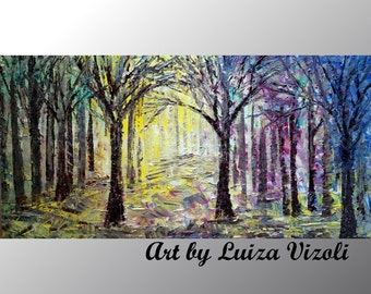SPRING PAINTING Abstract Oil Painting on Canvas Trees Landscape Art in pink, yellow, green, blue colors