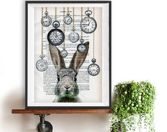 Woodland Rabbit Print, Bunny Artwork, Alice in wonderland, Rabbit Bunny Print, Black and White, Nursery Artwork, Rabbit Art Wall, Wall Decor