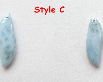 Caribbean Blue Larimar Drop with drilled hole One Piece K6380
