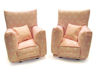"""Barbie Doll Furniture-Living Room Chairs with Pillows-1:6 scale-Pink & White Polka Dot fabric-also works w/ any Blythe and 11"""" fashion doll"""