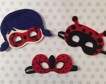 Lady Bug Ladybug Costume Halloween Mask Costume Dress up Lady bug Costume Felt Mask Cosplay Insect Mask Kids Mask Pretend Play Dress Up