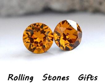 7.27mm Topaz Swarovski Studs Xirius Round Rhinestone Stud Earrings-Topaz Swarovski Crystal Stud Earrings- Birthstone Earrings
