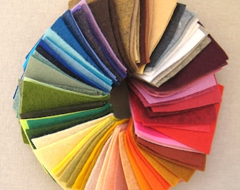 3 x 3 in Complete Rainbow Mini Wool Blend Felt Pack - Sampler Pack - 111 colors