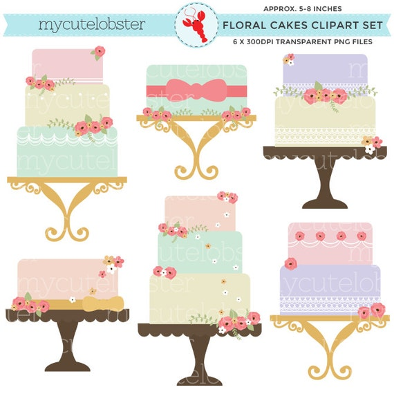 Floral Cakes Clipart Set clip art set of cakes vintage