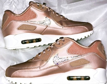 Women's Nike Air Max 90 - Rose Gold Bling - Perfect Gift - Nike Shoes -