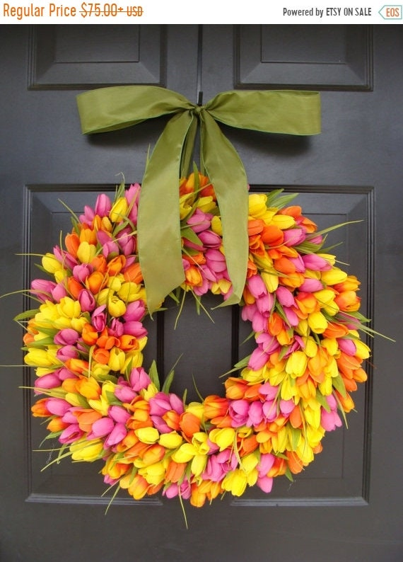 SUMMER WREATH SALE Spring Wreaths- Spring Wreath- Tulip Wreath- Gift for Mom-Wreath for Spring- Custom Sizes