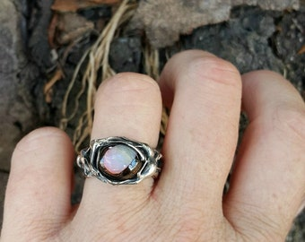 Beautiful sterling silver Koroit Opal ring