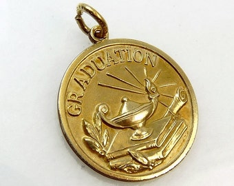 Vintage Gold Filled Graduation Charm Pendant Lamp Of Learning