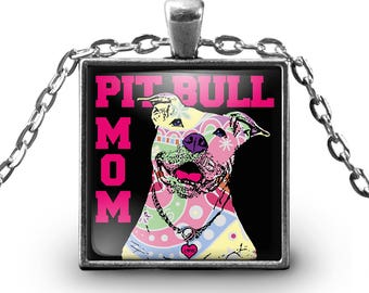 Pitbull Mom Necklace - Pitbull Jewelry for Pitbull Lovers - Pitbull Pendant