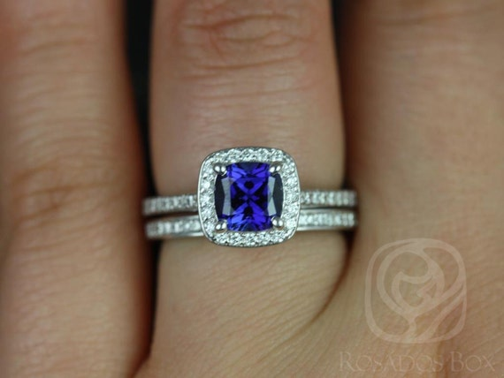 Rosados Box Hollie 6mm 14kt White Gold Cushion Blue Sapphire and Diamonds Halo Wedding Set