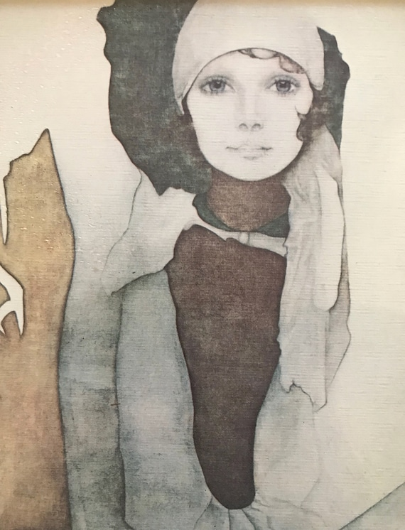 Christine Rosamond wall hanging framed litho print of a lady