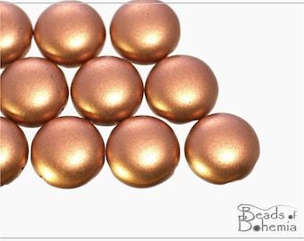 10 pcs 12 mm 2 Hole Czech Candy Beads Silky Metallic Copper - 2 hole cabochon (10869)